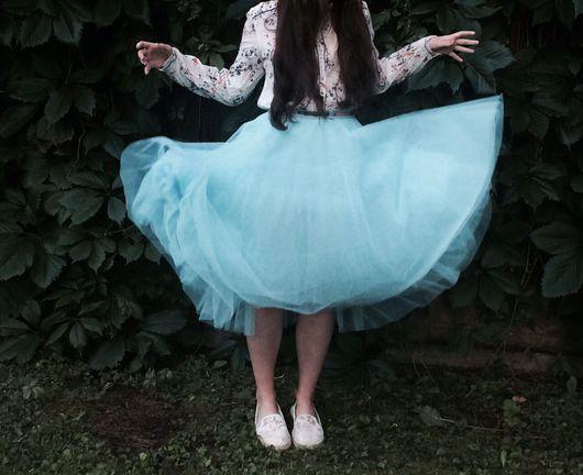 Юбки ручной работы. Ярмарка Мастеров - ручная работа. Купить Нарядная юбка-солнце из фатина. Handmade. Бирюзовый, юбка из фатина