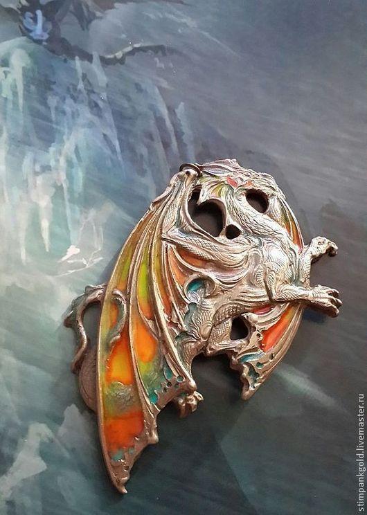 Готика ручной работы. Ярмарка Мастеров - ручная работа. Купить дракон спокойствия. Handmade. Готика, подвеска металлическая