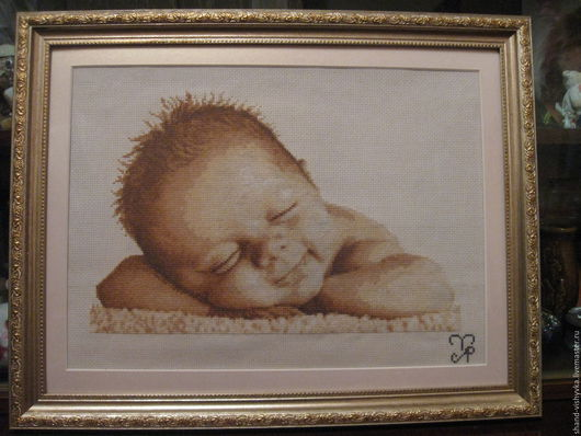 """Люди, ручной работы. Ярмарка Мастеров - ручная работа. Купить Картина """"Малыш"""". Handmade. Картина, вышивка, украшение интерьера, бежевый"""