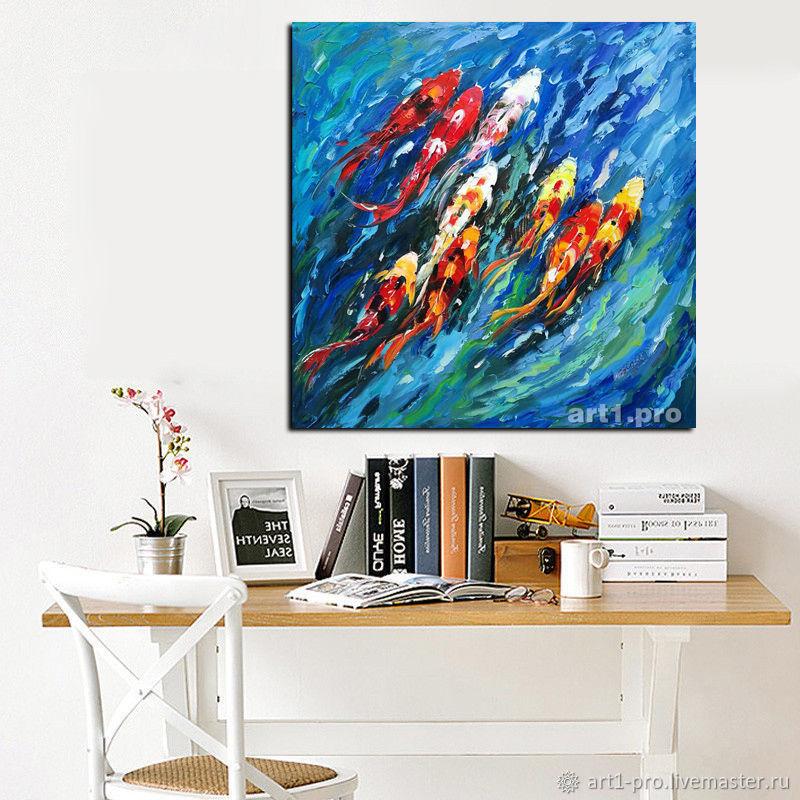 Картины большие маслом в стиле лофт в офис интерьерные. Карпы Кои