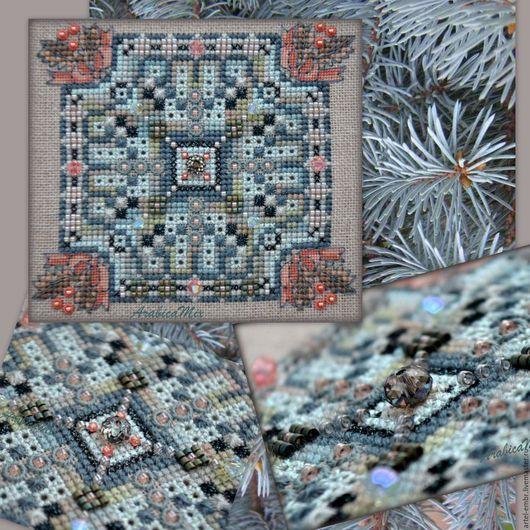 Cхема PDF `Сквер.Впечатление`. Размер дизайна 60х60 крестиков. Счетный крест с использованием специальных швов, бисера и кристаллов.