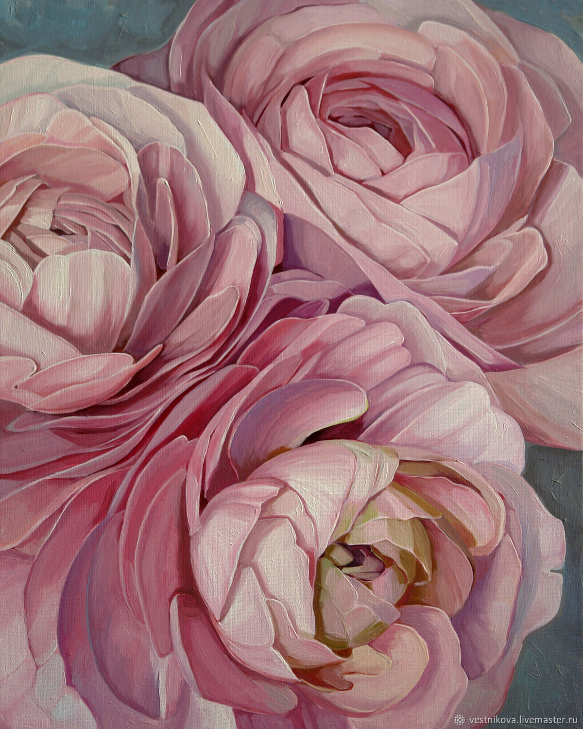 Painting 'Pink Ranunculus' oil on canvas 40h50 cm, Pictures, Moscow,  Фото №1