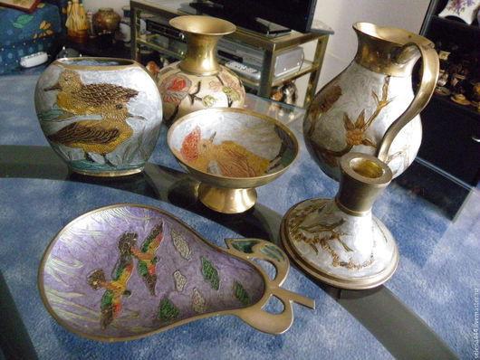 Винтажные предметы интерьера. Ярмарка Мастеров - ручная работа. Купить Коллекция индийских ваз Цветная эмаль Логотипы. Handmade. медь