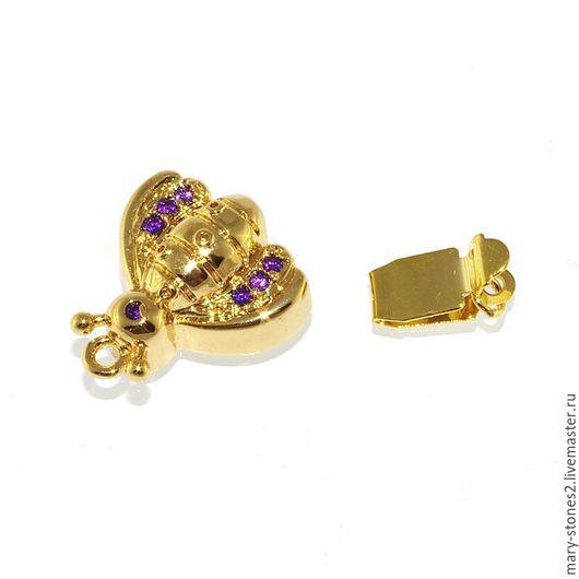 Для украшений ручной работы. Ярмарка Мастеров - ручная работа. Купить Замок пчелка с фиолетовыми фианитами, желтое золото. Handmade.