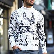 Одежда ручной работы. Ярмарка Мастеров - ручная работа Мягкий кашемировый свитер с оленями и не только. Handmade.