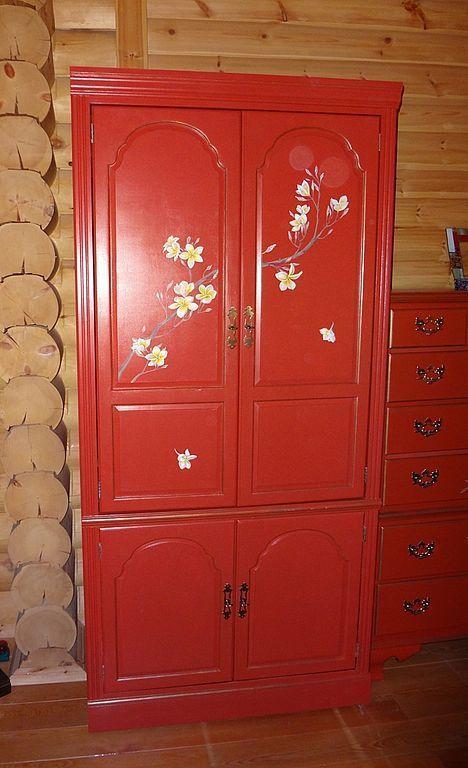 """Мебель ручной работы. Ярмарка Мастеров - ручная работа. Купить Шкаф для одежды из коллекции """"С магнолиями"""". Handmade. Мебель прованс"""