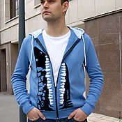 Одежда handmade. Livemaster - original item Cool shark hooded t-shirt, original Indigo t-shirt. Handmade.