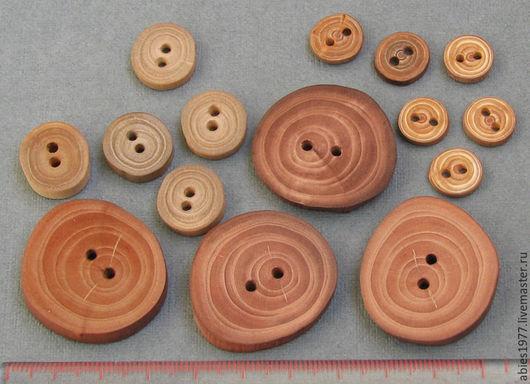 Деревянные эко пуговицы из веток яблони, вяза и лиственницы.