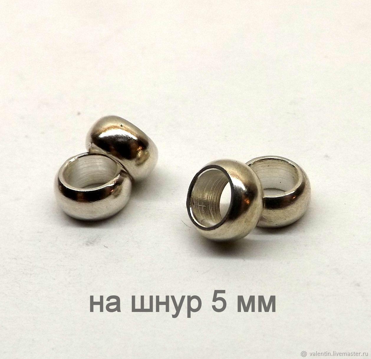 Бусина серебро 925 для шнура 5 мм, Для украшений, Санкт-Петербург, Фото №1