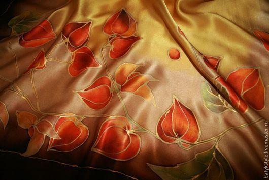 """Шали, палантины ручной работы. Ярмарка Мастеров - ручная работа. Купить Платок батик """"Физалис"""". Handmade. Рисунок, оранжевые цветы"""