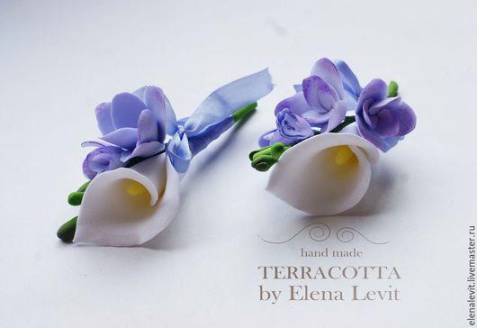 Бутоньерка для жениха/гостей свадьбы из полимерной глины. Terracotta by Elena Levit.