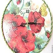 """Для дома и интерьера ручной работы. Ярмарка Мастеров - ручная работа Часы """"Маки"""". Handmade."""
