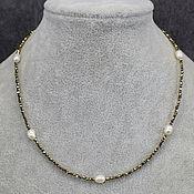 Работы для детей, handmade. Livemaster - original item Natural Hematite and River Pearls Beads / Choker. Handmade.