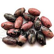 Материалы для творчества ручной работы. Ярмарка Мастеров - ручная работа Родонит 15 камней набор бусины розовый и черный бочонок овальные. Handmade.