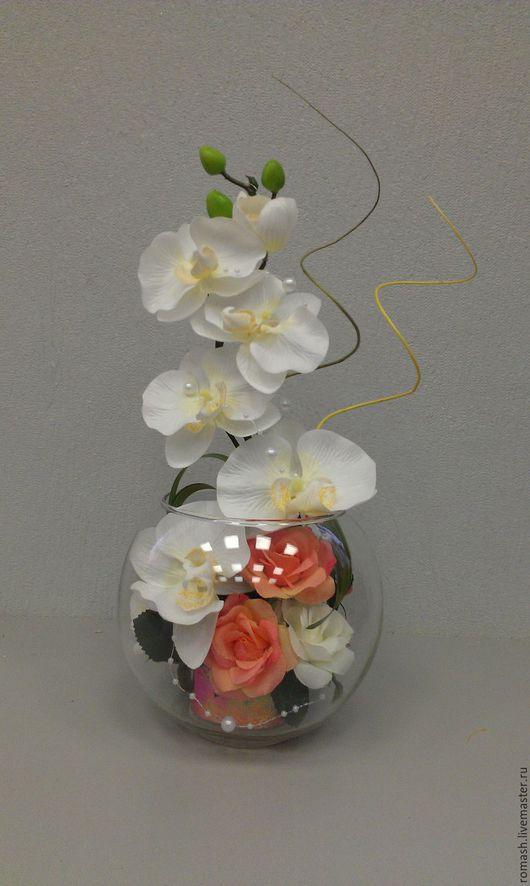 Вазы ручной работы. Ярмарка Мастеров - ручная работа. Купить Интерьерная композиция в стекле. Handmade. Интерьер, цветы в стекле, стекло