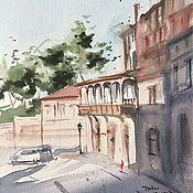 """Картины и панно ручной работы. Ярмарка Мастеров - ручная работа """"Улочки Тбилиси"""", акварель. Handmade."""