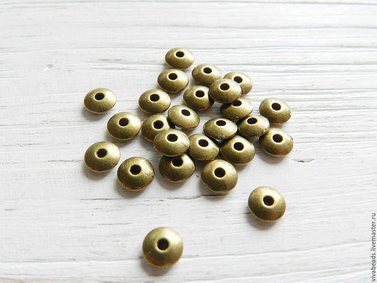 Бусина металлическая спейсер (разделитель бусин), размер 6*2 мм, отверстие 1,5 мм, цвет античная бронза, материал - сплав металлов, не содержит свинца, кадмия и никеля (арт. 1673)