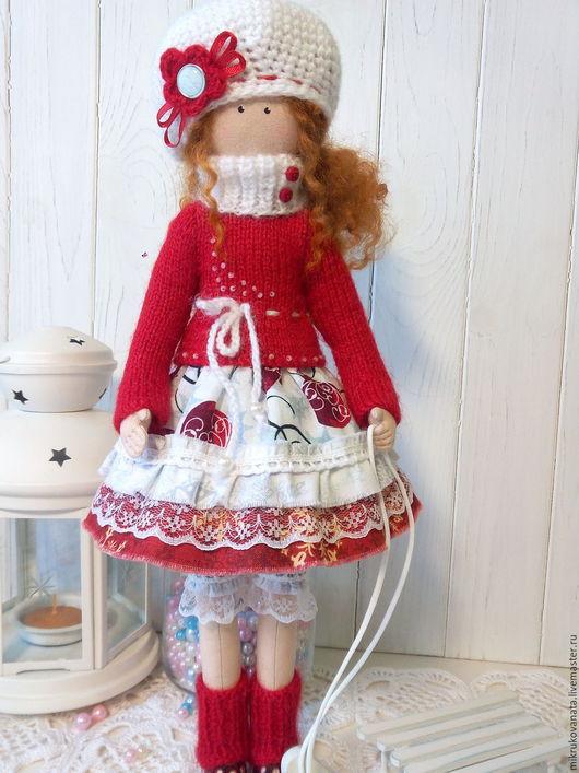 Коллекционные куклы ручной работы. Ярмарка Мастеров - ручная работа. Купить Ноэль..... Handmade. Ярко-красный, санки, кружево хлопок