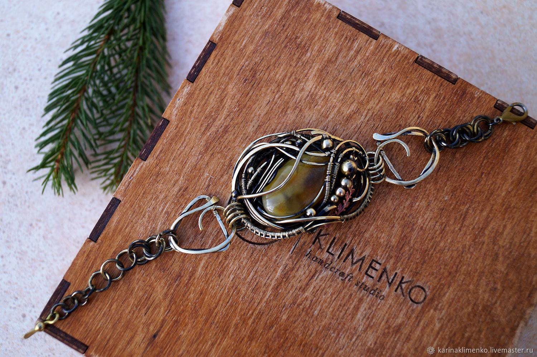 Brass bracelet with amber angel Gift, Bead bracelet, Semenovka,  Фото №1
