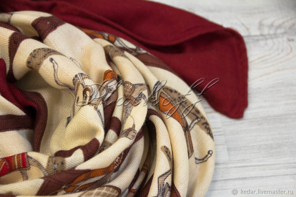 Burgundy cashmere scarf from HERMES 'Cavalry' fabric', Shawls1, Moscow,  Фото №1