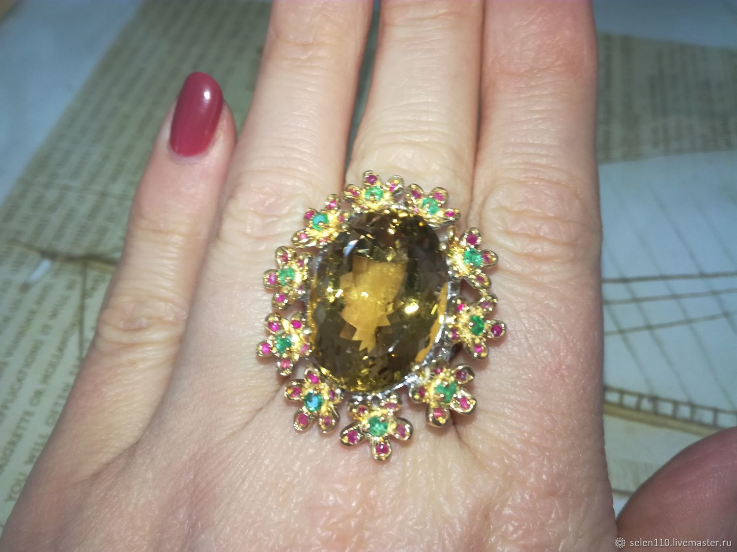 Ring 'flower Bed' with a large citrine, emeralds and rubies, Rings, Voronezh,  Фото №1