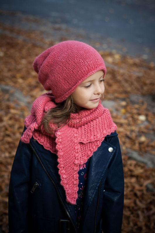 Шапки ручной работы. Ярмарка Мастеров - ручная работа. Купить Набор для девочки шапка бини и бактус Коралл.. Handmade.