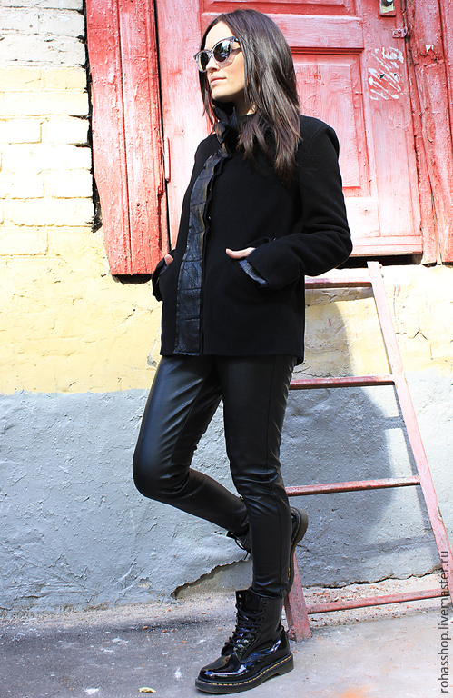 R00006 Короткое пальто теплый жакет кожаная куртка осенняя куртка верхняя одежда черная куртка Куртка женская куртка из кожи короткое пальто черное пальто короткая куртка черное пальто