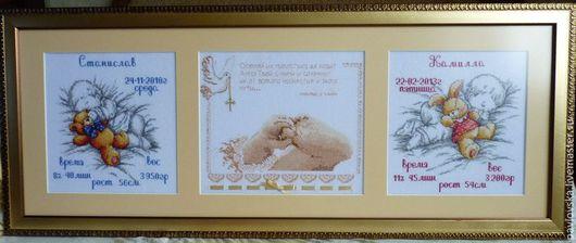 Подарки для новорожденных, ручной работы. Ярмарка Мастеров - ручная работа. Купить Вышитая метрика для двух детишек. Handmade.