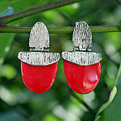 Earrings handmade. Livemaster - original item Sterling silver earrings with red corals in 925 sterling silver. Handmade.