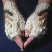Аксессуары handmade. Livemaster - original item Women`s knitted fingerless gloves Play with wool. Handmade.