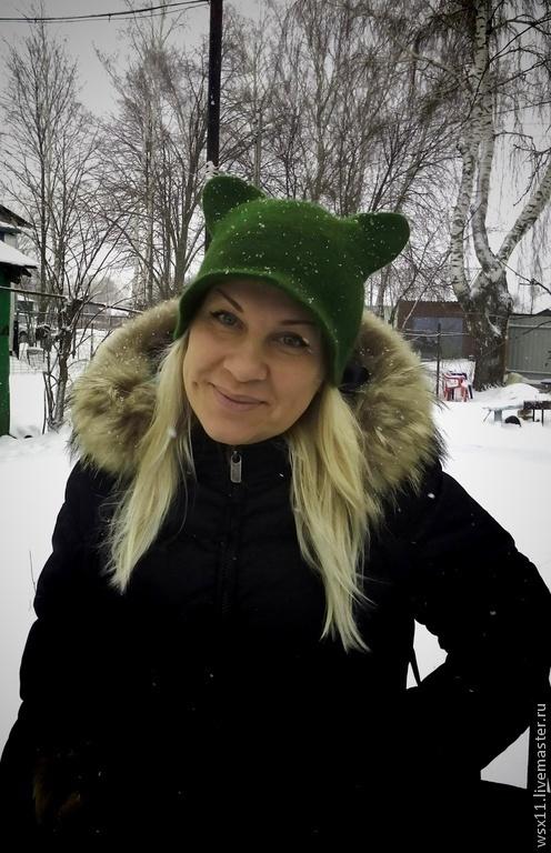 """Шапки ручной работы. Ярмарка Мастеров - ручная работа. Купить Шляпка """"Изумруд"""". Handmade. Тёмно-зелёный, козырек, валяние"""