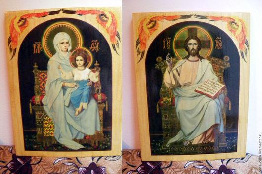 Иконы ручной работы. Ярмарка Мастеров - ручная работа. Купить Венчальнае пары - иконы 2 пишу горячими красками на дерево. Handmade.