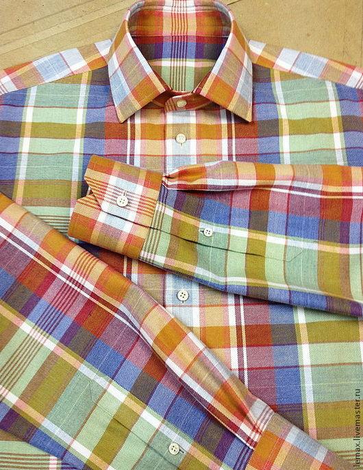 Для мужчин, ручной работы. Ярмарка Мастеров - ручная работа. Купить Рубашка байковая. Handmade. Оранжевый, сорочка, портной