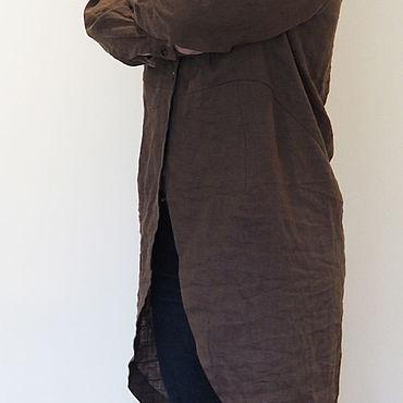 Одежда ручной работы. Ярмарка Мастеров - ручная работа Рубашка из коричневого льна, дизайнерская модель.. Handmade.