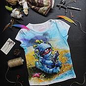 Работы для детей, handmade. Livemaster - original item Children`s t-shirt with Murloc painting. Handmade.