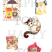Материалы для творчества handmade. Livemaster - original item Termotransfer. Cats. Termoprint. Pictures for fabric. Decal.. Handmade.