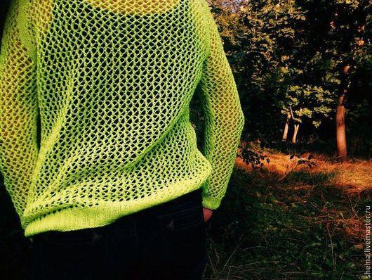 """Кофты и свитера ручной работы. Ярмарка Мастеров - ручная работа. Купить Пуловер-сетка хлопковый """"Неон"""". Handmade. Желтый"""