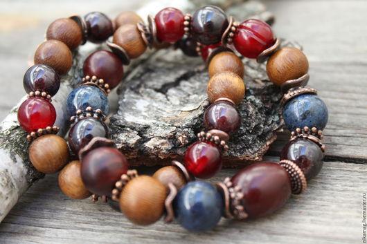 """Браслеты ручной работы. Ярмарка Мастеров - ручная работа. Купить Комплект браслетов """"Чернично-вишневый пунш"""" дерево, камень, рог буйвол. Handmade."""