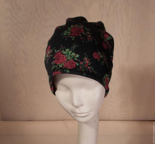 Шапки ручной работы. Ярмарка Мастеров - ручная работа. Купить шапочка роза. Handmade. Черный, зимняя шапка, Вискоза с шерстью