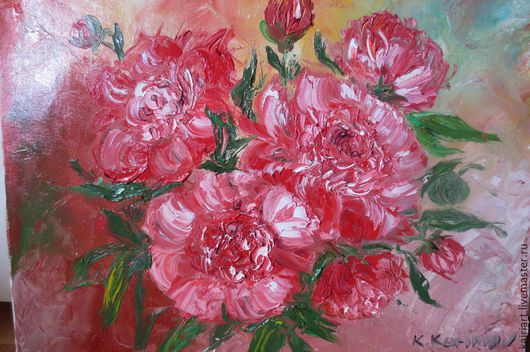 Картины цветов ручной работы. Ярмарка Мастеров - ручная работа. Купить Картина маслом,,Kрасные пионы,,. Handmade. Пионы, цветы