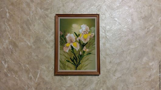 Картины цветов ручной работы. Ярмарка Мастеров - ручная работа. Купить Ирисы. Handmade. Комбинированный, Вышивка бисером, подарок, бисер