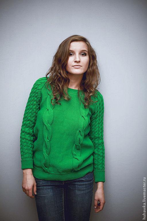 Кофты и свитера ручной работы. Ярмарка Мастеров - ручная работа. Купить Свитер вязаный женский хлопок  СВЕТЛАНА. Handmade. Зеленый