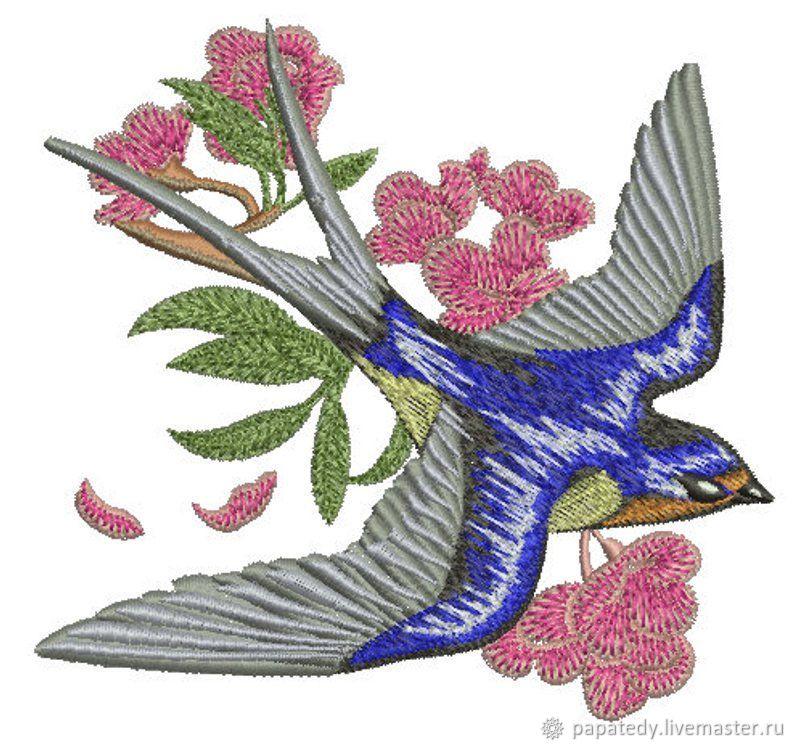 Ласточка и ветка с розовыми цветами дизайн для машинной вышивки, Схемы для вышивки, Кишинев,  Фото №1