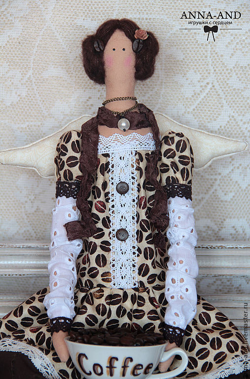 Куклы Тильды ручной работы. Ярмарка Мастеров - ручная работа. Купить Кофейная фея ( по мотивам). Handmade. Коричневый