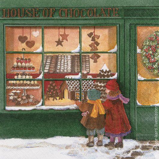Декупаж и роспись ручной работы. Ярмарка Мастеров - ручная работа. Купить Шоколадный дом зеленый (611530) 33х33 салфетка для декупажа. Handmade.