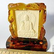Иконы ручной работы. Ярмарка Мастеров - ручная работа Будда в янтарном окладе Pd-06. Handmade.