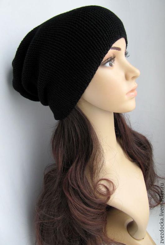 """Шапки ручной работы. Ярмарка Мастеров - ручная работа. Купить шапка """"Black"""". Handmade. Черный, весенняя шапка, черная шапка"""