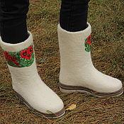 """Обувь ручной работы. Ярмарка Мастеров - ручная работа Валенки """"Белые, белые... с маками"""". Handmade."""