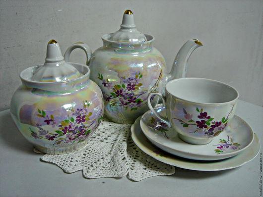 Винтажная посуда. Ярмарка Мастеров - ручная работа. Купить Чайный набор для одного.Дулево.. Handmade. Белый, дулевский фарфор