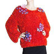 Одежда handmade. Livemaster - original item Bright furry sweater decorated with flowers. Handmade.